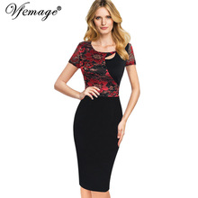 Vfemage Womens Sexy Cut out See Through Floral Lace Contrast Patchwork Tunic Vintage Work Office Casual Party Bodycon Dress 7017(China)