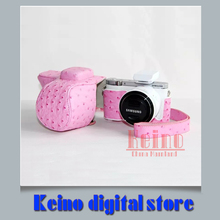 Pink Leather PU Protective Bag case Professional holster Ostrich grain for Sa&sung NX3000 NX3300 16-50 20-50mmcamera