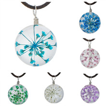 DoreenBeads Glass Dried Flower Necklace Dark Brown Wax Cord Fuchsia Skyblue Blue Green White Pink Purple Rose Red 44.5cm, 1 PC