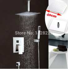 "Luxury 16"" Big Rain Shower Head brass Shower Set Faucet with ABS Handheld Shower Chrome Finished"
