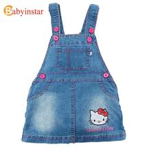 Kids Dresses For Girls 2017 Cute Cartoon Hello Kitty Children Clothing Baby Costume Fashion Girl Denim Dress(China)