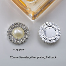 (M0167) 25mm Deluxe Double Row Rhinestone & Pearl Cluster, Wedding Embellishment, silver or gold color ,ivory Imitation pearl(China)