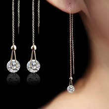 USTAR 2.0 ct AAA Zircon Stud Earrings for women long chain Rose Gold Color crystal Earrings female Jewelry fashion brincos gift