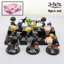 Free Shipping Cute Mini Code Geass Anime Character Solid 9pcs Boxed PVC Action Figure Collection Model Toy Gift (9pcs per set)