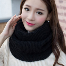 [Lakysilk]Women Scarf 2017 Solid Ladies Winter Warm Knitted Circle Loop Cowl Snood Men's Scarves Wraps Infinity Luxury Brand(China)