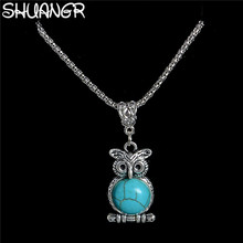 SHUANGR Tibetan Silver Owl Pendant Necklace Natural Stone Long Necklace Sweater Chain Chunky Chains Statement Necklace Jewelry(China)