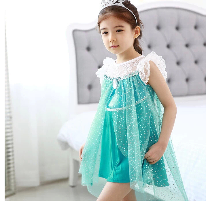 New Summer Girl Casual Dress with Short Sleeve Elsa Cartoon Lace Dresses Kids Party Clothes Children Fashion Costume<br><br>Aliexpress