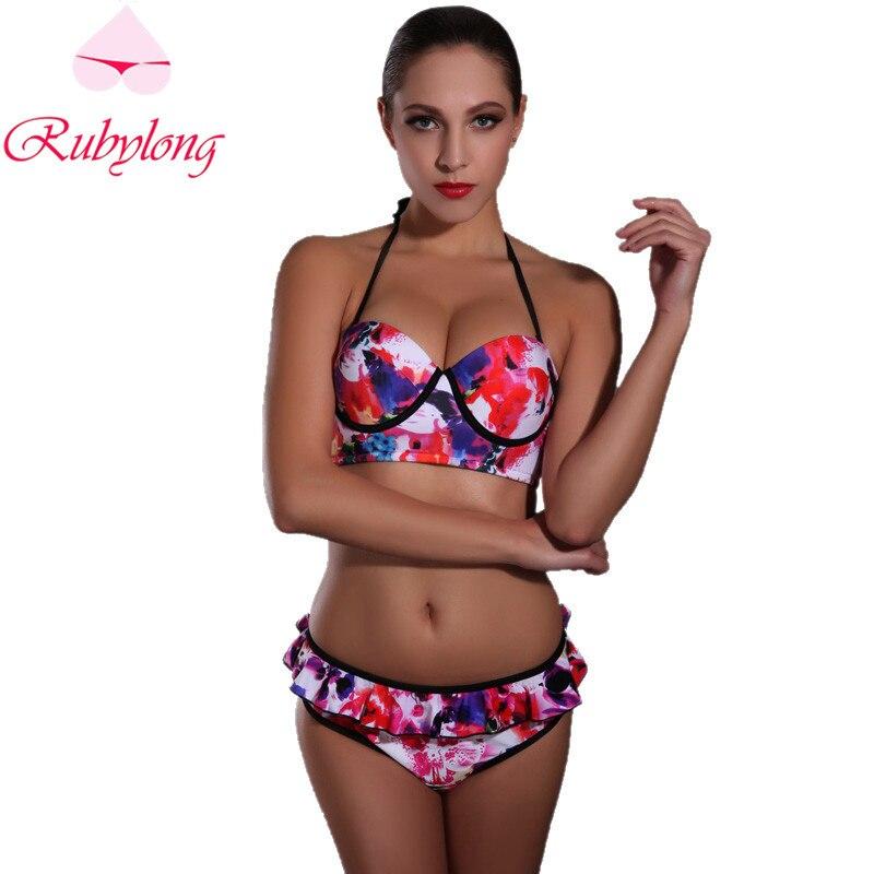 Rubylong 2017 Red Flower Print Bikini Swimwear Women Sexy Halter Underwire Padded Push Up Swimsuit Bikini Set Biquini Beachwear<br><br>Aliexpress