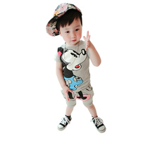 SS16 0-3Y Mickey Summer Baby Boys Clothing Sets Micky Mouse Kids Clothes Short Sleeves T Shirts Shorts suits toddler Children