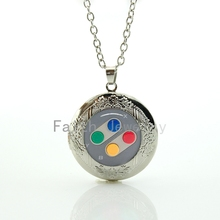 Novelty funny popular game jewelry case for Nintendo charm colorful button Controller snes picture locket pendant necklace HH250