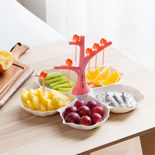 Novelty Dining Snacks Nut Candy Sugar Dry Fruit Melon Seeds Storage Tray Plate Dish with Fruit Fork Party Festival Favor