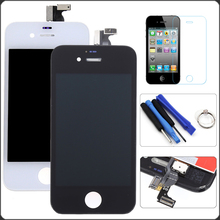 White Black For iPhone 4 4G/4S 4GS LCD Display Touch Screen Digitizer Assembly+Tempered Film+Tools Free Shipping+Tracking No.
