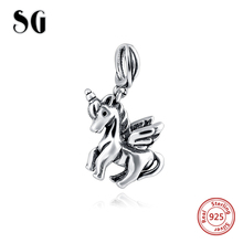 Fit Authentic Pandora Bracelets charm 925 Silver Original Animal Horse Compatible With Zable Bead for Jewelry making women Gift(China)