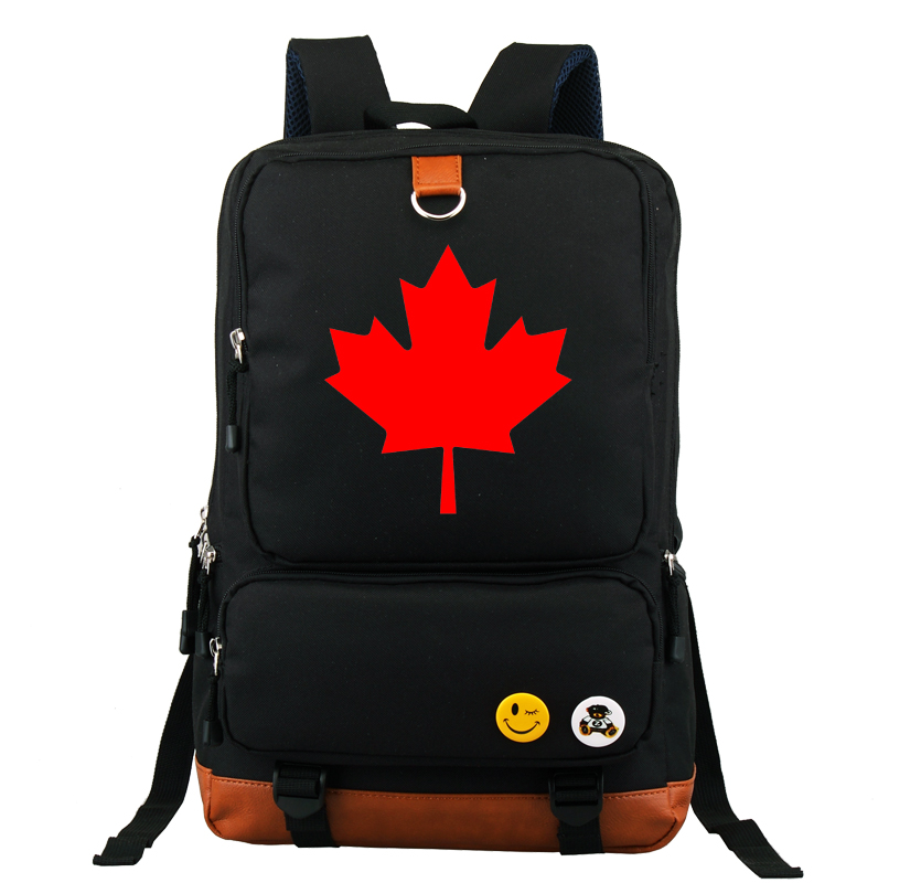 Black Dark Blue Shoulder School Messenger Backpack Black Luminous Bag New Maple Canada Flag Design<br>