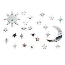 Acrylic Mirror Stickers 3D Sun Star Moon DIY Home Wall Decorative Stickers Living Room Bedroom Window Decorations Wall Sticker(China)