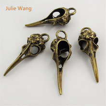 Julie Wang 5pcs Mini Charms Antique Bronze Skull Bird Head Pointed Mouth Pendant Handmade Hanging Crafts