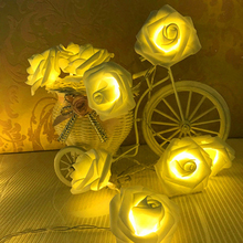 2M 20LED Rose LED String Lights Battery operated Novelty Rose Flower Fairy String Lights Holiday Lighting Wedding Home(China)