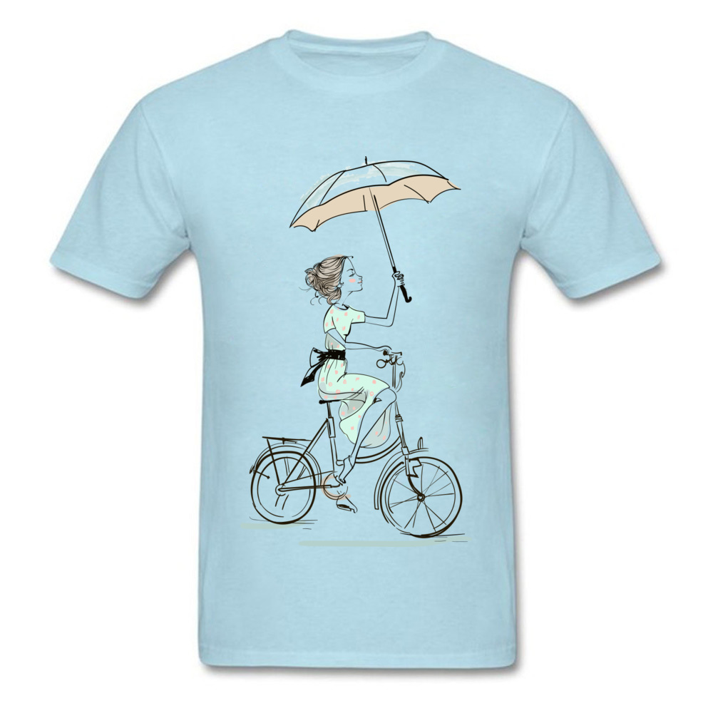 umbrellas girl riding a bicycle Fitted Men T Shirts Crewneck Short Sleeve All Cotton Tops & Tees Fitness Tight Tees umbrellas girl riding a bicycle light