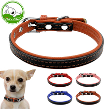 Soft Padded PU Leather Small Dog Collars for Puppies Chihuahua Cats 4 Colors XS S