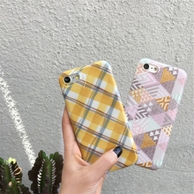 TPU Phone Case Cover For iPhone 8 7 Geometric Triangle Yellow Box And Gray Sketch Pattern Dirt-resistant Back Shell Fundas Capa