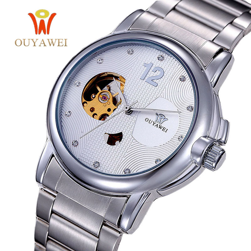 OUYAWEI Brand Luxury Sport Watch Men Automatic Skeleton Mechanical Wristwatches Fashion Casual Stainless Steel Relogio Masculino<br><br>Aliexpress