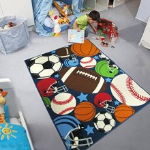 Blue Kids Rug Fun Sport Rugs Children's Rug Balls Print with Soccer Ball, Basketball, Football, Tennis Ball