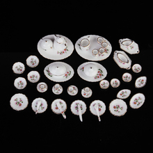 1:12 50pcs Dollhouse Mini Dining Ware Porcelain Tea Set Dish Cup Plate Pink Daisy Flower Kid Classic Kitchen Pretend Play Toy