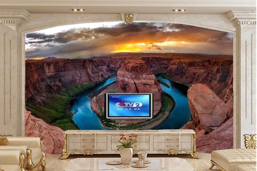 Large murals,Mountains Lake Canyon Clouds Nature wallpapers papel de parede,living room sofa TV wall bedroom 3d wallpaper<br>