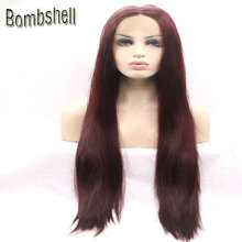 Bombshell Heat Resistant Fiber Brown Red Hair Long Silky Straight Synthetic Lace Front Wigs 99j# Color Middle Part For Women(China)