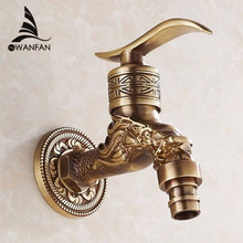 Bibcock Faucet For Outdoor Garden Brass Antique Bronze Washing Machine Faucet Wall Bathroom Mop Tap Toilet Cold Bibcock HJ-7665F(China)