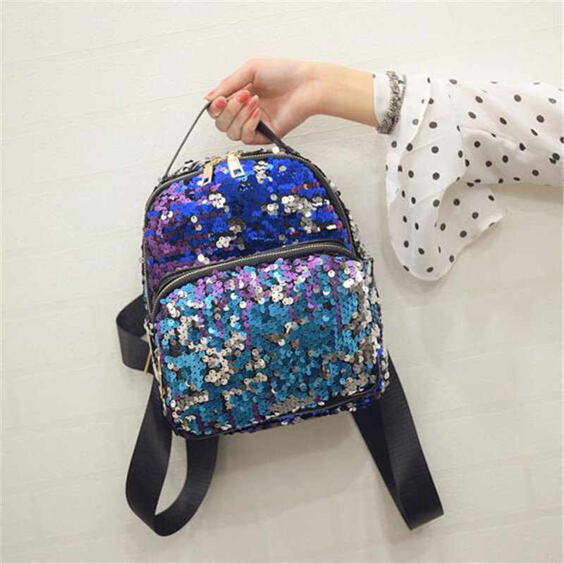 High Quality 2017 Fashion Sequins Backpack Women BlingBling Leisure Travel Bag Student Small Paillette School Bag Sack Mochila<br><br>Aliexpress