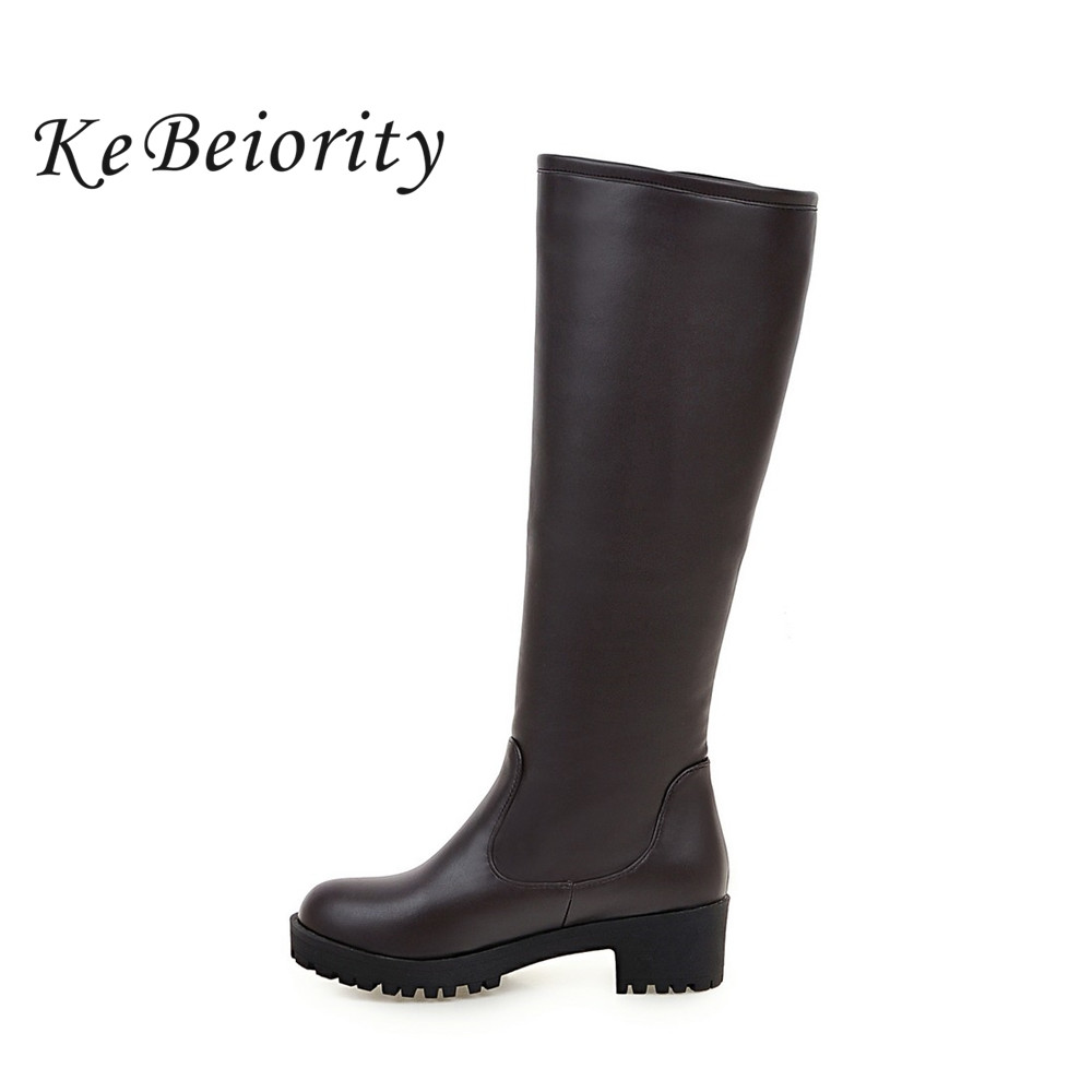 KEBEIORITY Platform High Knee Boots Women Low Heel Boots Zipper Black Brown White High Leg Boots Spring Autumn Shoes 2017<br>