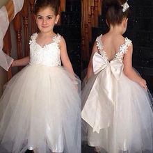 Elegant Flower Girl Dress Princess Lace Bow  Dresses Kids White Dress For Girl Wedding Party Vestido Baby Infant Baptism Dresses