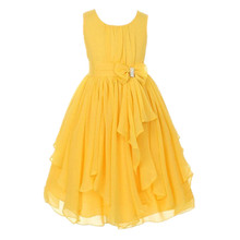 Fashion teenage girls dress children gown prom wedding evening years 12 pretty girl dresses yellow pink lavender(China)