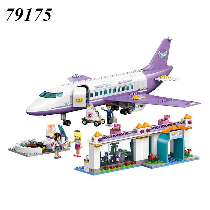 AIBOULLY 79175 701pcs Friends Heartlake Airport big plane model Building Minis Block girl Toys Airplane toys with 41109<br>