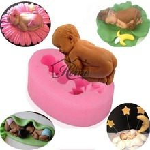 Sleep baby Silicone Cake Mold Fondant Decorating Sleeping Baby Shape Soap Mold Food Grade Silicone Chocolate Candy Candle Mold