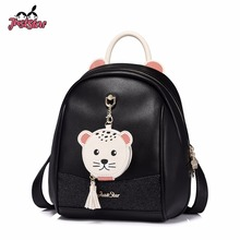 JUST STAR Women's PU Leather Backpack Female Fashion Double Shoulder Bags Ladies Cartoon Navy Seal Tassel Travel Rucksack(China)