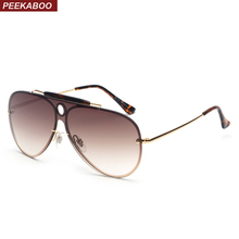 Peekaboo high quality sunglasses men brown retro one piece metal frame green yellow red sun glasses for men 2018 uv400(China)