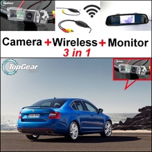 3 in1 Special Rear View Camera + Wireless Receiver + Mirror Monitor Easy DIY Back Up Parking System For Skoda Octavia 5E MK3