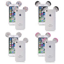 Cell Phone Case For iPhone 7 5 6 S 5S SE 6S Plus 6plus 7plus Cover Glitter Diamond Skin Fashion 3D Ears Silicon Glitter Housing