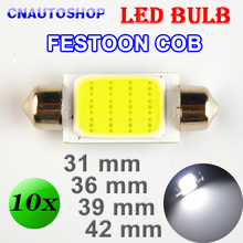31mm 36mm 39mm 42mm FESTOON COB Bulb 12 Chips C5W DC12V White Color Car LED Lamp Auto Dome Light 10 PCS