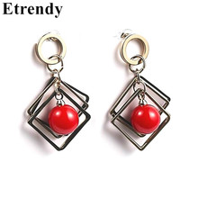 Statement Geometric Red Simulated Pearl Drop Earrings For Women Bijoux New Fashion Jewelry Gifts(China)