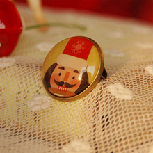Merry Christmas Moustach King Pins for Children 20mm Glass Cabochon Pins Badge Best Christmas Jewelry xz28