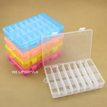 Buulqo 24pcs grids removable plastic storage box Adjustable clear Storage Box Home container Organizer Jewelry Beads Boxes(China)