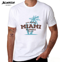BLWHSA Miami Florida Summer Men T-shirt Fashion Kite Plam Tree Top Tees Style O-neck Swag Short Sleeve T Shirt(China)
