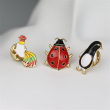 Lovely more color chicks ladybug penguins men and women enamel brooch 2017 clothing chest button animal badge pin wholesale