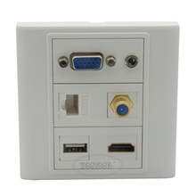 vga, hdmi 3.5mm audio, USB, RJ45, F head TV wall plate with back female to female connector support customer design
