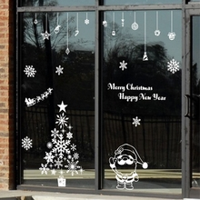 Large 2017Christmas Vinyl Wall Decal Shop Glass Window Holiday Christmas Wall Sticker X-Mas Home Room Door Decoration