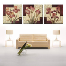 Canvas Painting PICTURE 3 Panel Modern Flower Wall Pictures For Living Room Oil Paintings Print Christmas DecorationsFor Home(China)