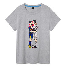 New Fashion Men's T shirts Cristiano Ronaldo Madrid Portugal cool Lionel Messi ARGENTINA Barcelona Tees Cotton Clothing PlusSize